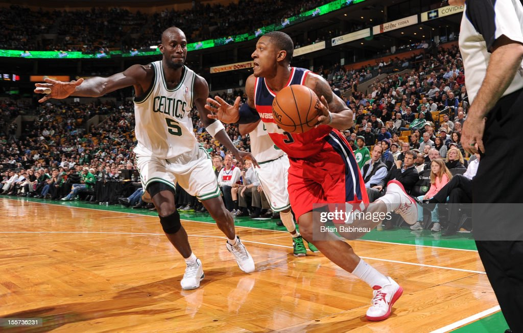 <a gi-track='captionPersonalityLinkClicked' href=/galleries/search?phrase=Bradley+Beal&family=editorial&specificpeople=7640439 ng-click='$event.stopPropagation()'>Bradley Beal</a> #3 of the Washington Wizards drives to the basket vs <a gi-track='captionPersonalityLinkClicked' href=/galleries/search?phrase=Kevin+Garnett&family=editorial&specificpeople=201473 ng-click='$event.stopPropagation()'>Kevin Garnett</a> #5 of the Boston on November 7, 2012 at the TD Garden in Boston, Massachusetts.