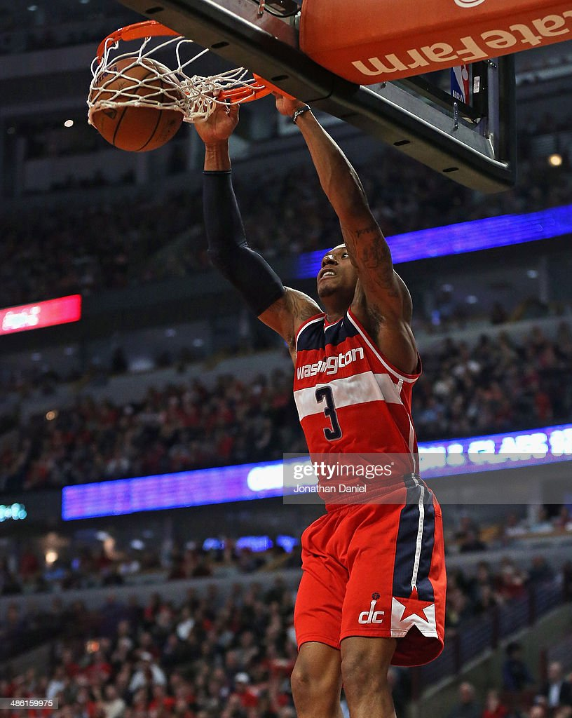 <a gi-track='captionPersonalityLinkClicked' href=/galleries/search?phrase=Bradley+Beal&family=editorial&specificpeople=7640439 ng-click='$event.stopPropagation()'>Bradley Beal</a> #3 of the Washington Wizards dunks against the Chicago Bulls in Game Two of the Eastern Conference Quarterfinals during the 2014 NBA Playoffs at the United Center on April 22, 2014 in Chicago, Illinois.