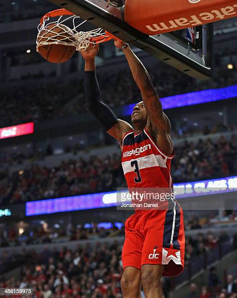 Bradley Beal of the Washington Wizards dunks against the Chicago Bulls in Game Two of the Eastern Conference Quarterfinals during the 2014 NBA...