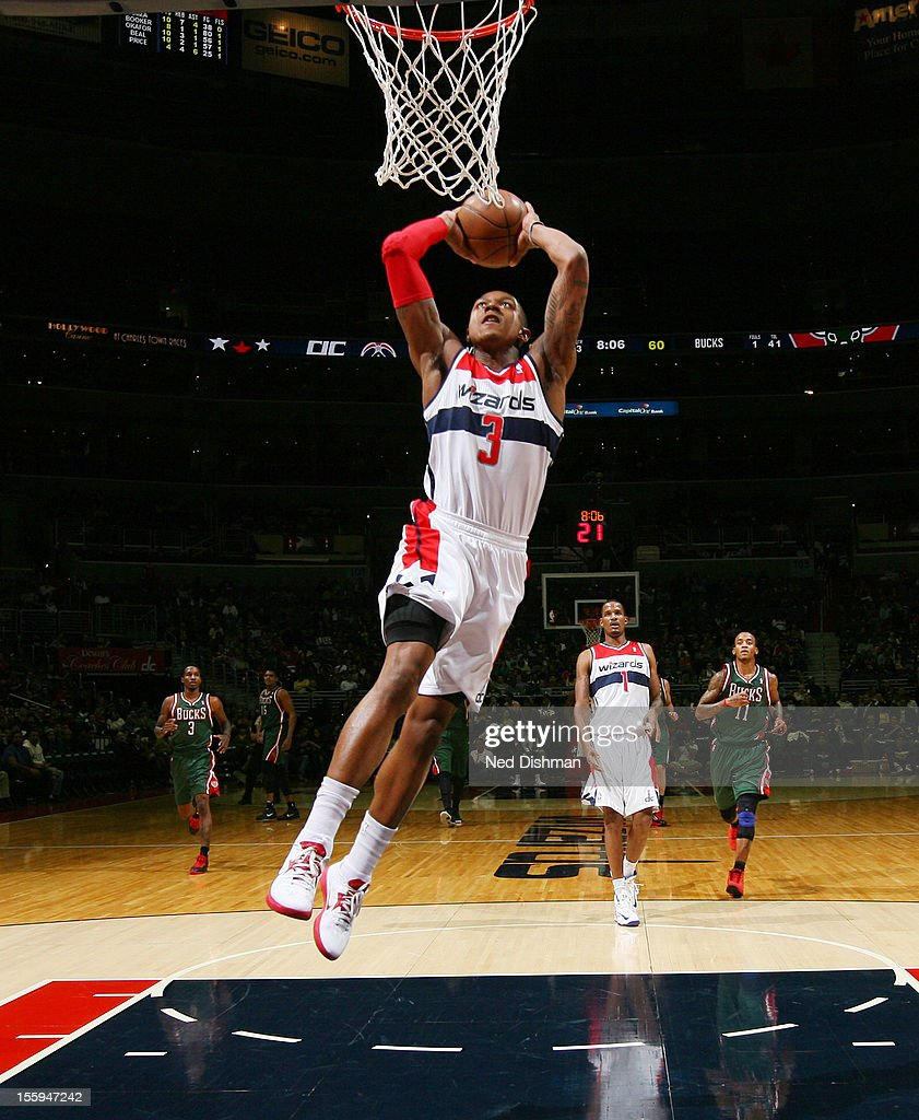 <a gi-track='captionPersonalityLinkClicked' href=/galleries/search?phrase=Bradley+Beal&family=editorial&specificpeople=7640439 ng-click='$event.stopPropagation()'>Bradley Beal</a> #3 of the Washington Wizards dunks against the Milwaukee Bucks during the game at the Verizon Center on November 9, 2012 in Washington, DC.