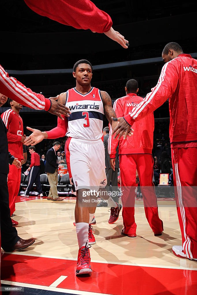 <a gi-track='captionPersonalityLinkClicked' href=/galleries/search?phrase=Bradley+Beal&family=editorial&specificpeople=7640439 ng-click='$event.stopPropagation()'>Bradley Beal</a> #3 of the Washington Wizards enters the court during opening announcements before the game against the Detroit Pistons at the Verizon Center on February 27, 2013 in Washington, DC.