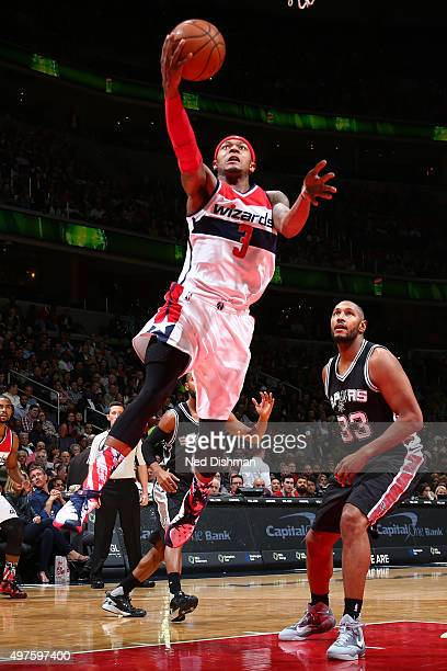 Bradley Beal of the Washington Wizards goes for the layup against the San Antonio Spurs during the game on November 4 2015 at Verizon Center in...