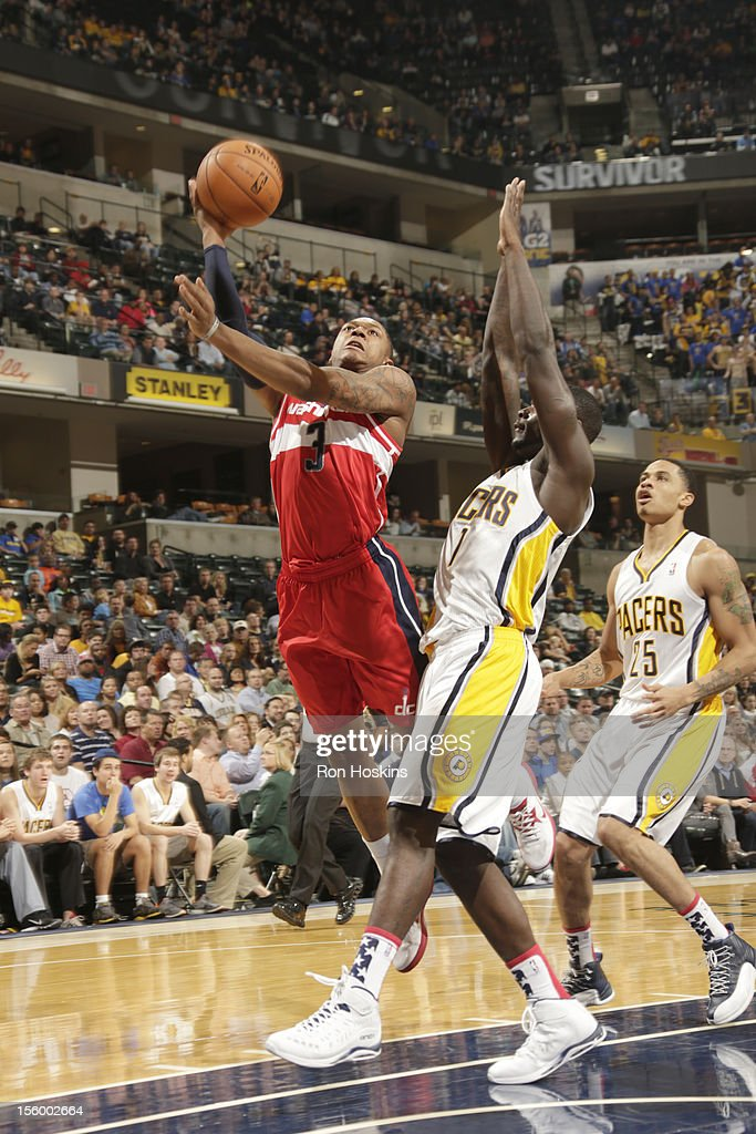 Bradley Beal #3 of the Washington Wizards goes to the basket against Lance Stephenson #1 of the Indiana Pacers during the game between the Indiana Pacers and the Washington Wizards on November 10, 2012 at Bankers Life Fieldhouse in Indianapolis, Indiana.