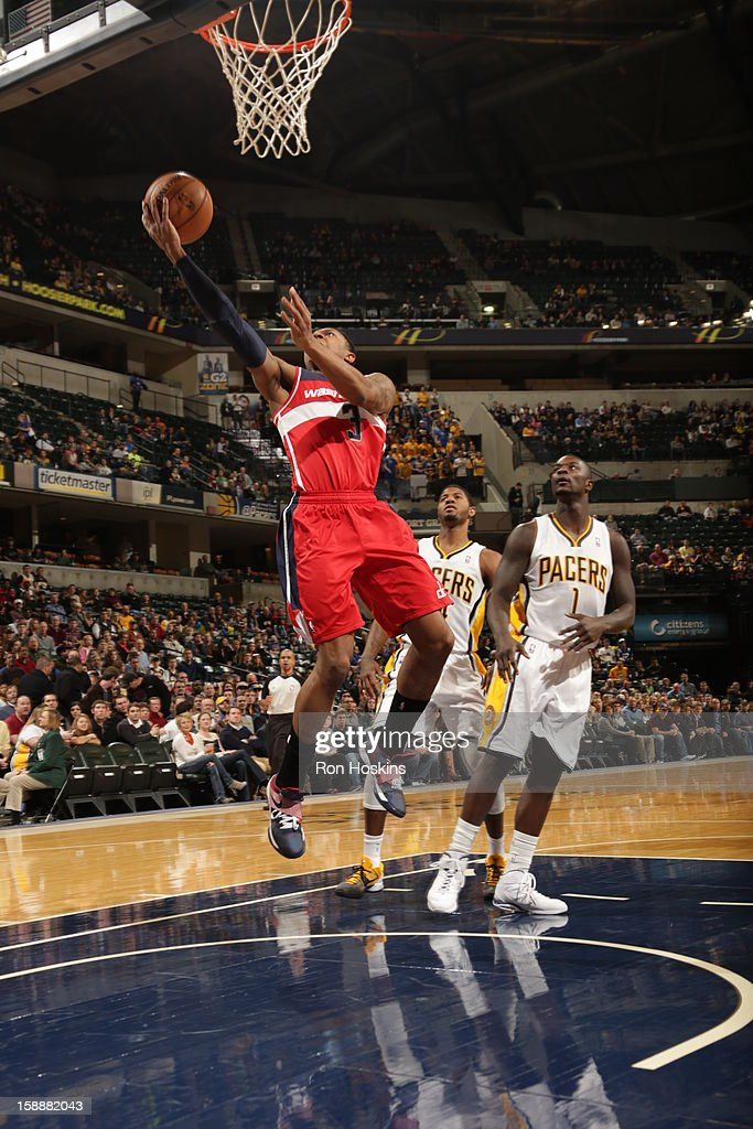Bradley Beal #3 of the Washington Wizards goes to the basket against Lance Stephenson #1 of the Indiana Pacers on January 2, 2013 at Bankers Life Fieldhouse in Indianapolis, Indiana.