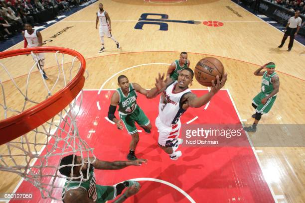 Bradley Beal of the Washington Wizards goes to the basket against the Boston Celtics in Game Four of the Eastern Conference Semifinals of the 2017...