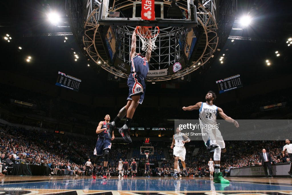 Bradley Beal #3 of the Washington Wizards goes up for a dunk during a game against the Minnesota Timberwolves on March 13, 2017 at Target Center in Minneapolis, Minnesota.