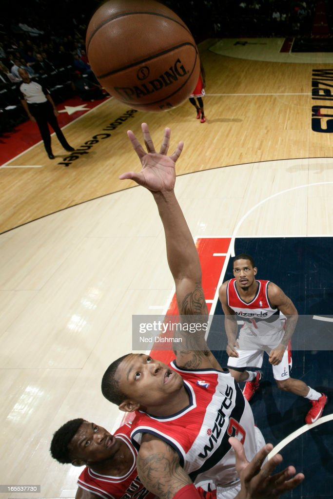 Bradley Beal #3 of the Washington Wizards goes up for a rebound against the Chicago Bulls at the Verizon Center on April 2, 2013 in Washington, DC.