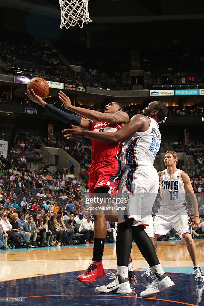 <a gi-track='captionPersonalityLinkClicked' href=/galleries/search?phrase=Bradley+Beal&family=editorial&specificpeople=7640439 ng-click='$event.stopPropagation()'>Bradley Beal</a> #3 of the Washington Wizards goes up for a shot against the Charlotte Bobcats during the game at the Time Warner Cable Arena on March 31, 2014 in Charlotte, North Carolina.