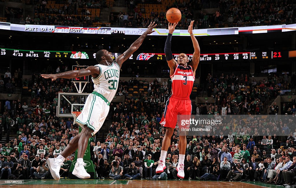 Bradley Beal #3 of the Washington Wizards goes up for a shot vs Brandon Bass #30 of the Boston Celtics November 7, 2012 at the TD Garden in Boston, Massachusetts.