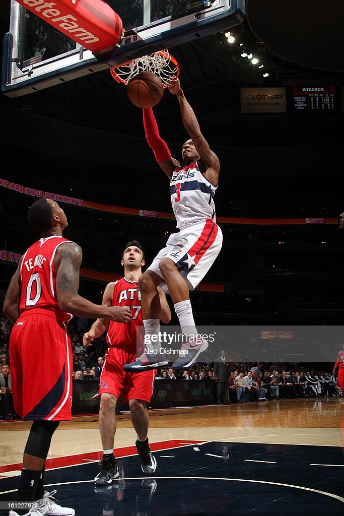 <a gi-track='captionPersonalityLinkClicked' href=/galleries/search?phrase=Bradley+Beal&family=editorial&specificpeople=7640439 ng-click='$event.stopPropagation()'>Bradley Beal</a> #3 of the Washington Wizards goes up for the dunk against the Atlanta Hawks during the game at the Verizon Center on January 12, 2013 in Washington, DC.
