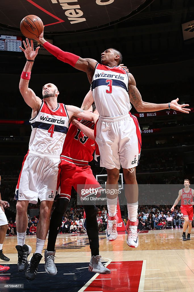 Bradley Beal #3 of the Washington Wizards grabs a rebound against the Chicago Bulls during Game Four of the Eastern Conference Quarterfinals on April 27, 2014 at the Verizon Center in Washington, DC.