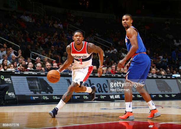 Bradley Beal of the Washington Wizards handles the ball against Ramon Sessions of the New York Knicks during the preseason game on October 6 2017 at...