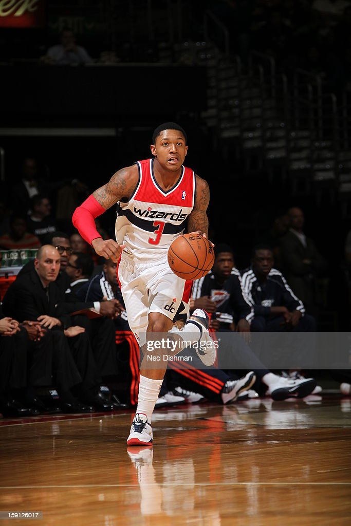 <a gi-track='captionPersonalityLinkClicked' href=/galleries/search?phrase=Bradley+Beal&family=editorial&specificpeople=7640439 ng-click='$event.stopPropagation()'>Bradley Beal</a> #3 of the Washington Wizards handles the ball against the Oklahoma City Thunder at the Verizon Center on January 7, 2013 in Washington, DC.