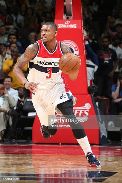 Bradley Beal of the Washington Wizards handles the ball against the Atlanta Hawks in Game Six of the Eastern Conference Semifinals of the 2015 NBA...