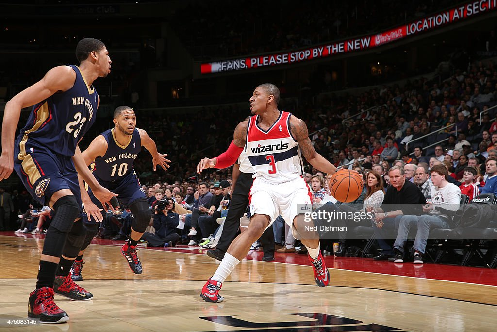 <a gi-track='captionPersonalityLinkClicked' href=/galleries/search?phrase=Bradley+Beal&family=editorial&specificpeople=7640439 ng-click='$event.stopPropagation()'>Bradley Beal</a> #3 of the Washington Wizards handles the ball against the New Orleans Pelicans at the Verizon Center on February 22, 2014 in Washington, DC.