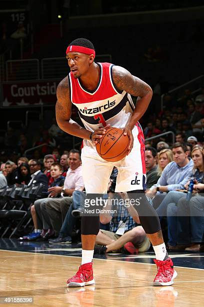 Bradley Beal of the Washington Wizards handles the ball against the Philadelphia 76ers during a preseason game on October 6 2015 at Verizon Center in...
