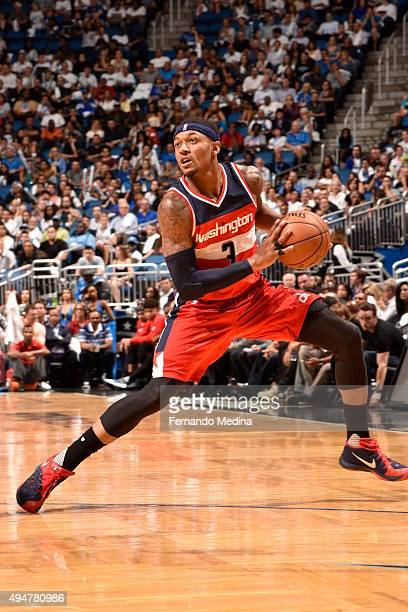 Bradley Beal of the Washington Wizards handles the ball against the Orlando Magic during the game on October 28 2015 at Amway Center in Orlando...