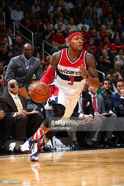 Bradley Beal of the Washington Wizards handles the ball against the San Antonio Spurs during the game on November 4 2015 at Verizon Center in...