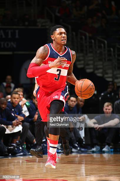 Bradley Beal of the Washington Wizards handles the ball against the Dallas Mavericks on December 6 2015 at Verizon Center in Washington DC NOTE TO...
