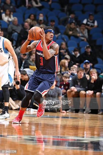 Bradley Beal of the Washington Wizards handles the ball against the Minnesota Timberwolves on March 2 2016 at Target Center in Minneapolis Minnesota...