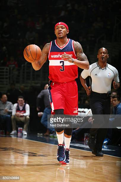 Bradley Beal of the Washington Wizards handles the ball against the Charlotte Hornets on April 10 2016 at Verizon Center in Washington DC NOTE TO...