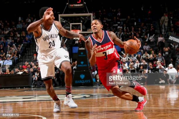 Bradley Beal of the Washington Wizards handles the ball against the Brooklyn Nets on February 8 2017 at Barclays Center in Brooklyn New York NOTE TO...