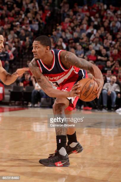 Bradley Beal of the Washington Wizards handles the ball against the Portland Trail Blazers on March 11 2017 at the Moda Center in Portland Oregon...
