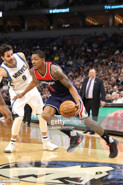 Bradley Beal of the Washington Wizards handles the ball against the Minnesota Timberwolves on March 13 2017 at Target Center in Minneapolis Minnesota...