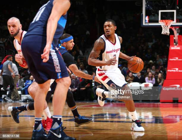 Bradley Beal of the Washington Wizards handles the ball against the Dallas Mavericks during the game on March 15 2017 at Verizon Center in Washington...