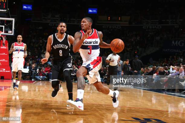 Bradley Beal of the Washington Wizards handles the ball against the Brooklyn Nets on March 24 2017 at Verizon Center in Washington DC NOTE TO USER...