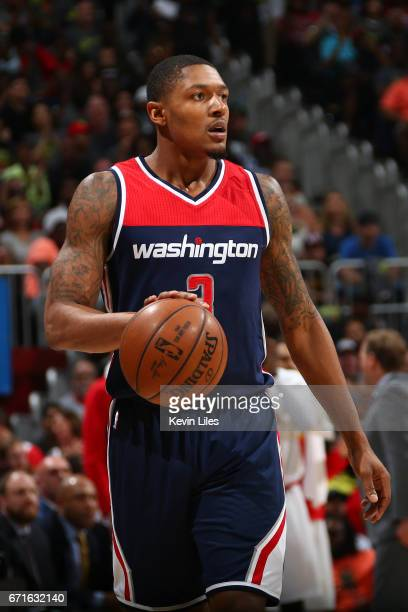 Bradley Beal of the Washington Wizards handles the ball against the Atlanta Hawks in Game Three of the Eastern Conference Quarterfinals during the...