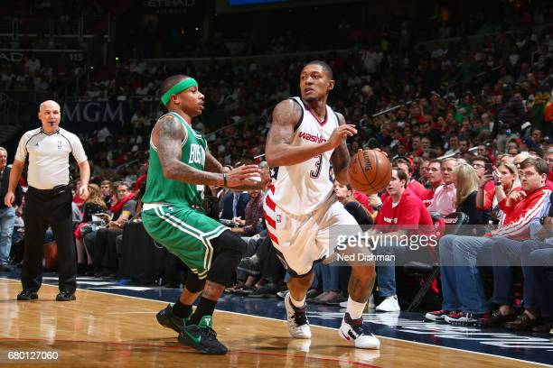 Bradley Beal of the Washington Wizards handles the ball against the Boston Celtics in Game Four of the Eastern Conference Semifinals of the 2017 NBA...