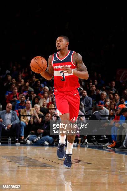 Bradley Beal of the Washington Wizards handles the ball against the New York Knicks on October 13 2017 at Madison Square Garden in New York City New...