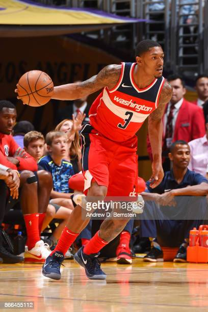 Bradley Beal of the Washington Wizards handles the ball against the Los Angeles Lakers on October 25 2017 at STAPLES Center in Los Angeles California...