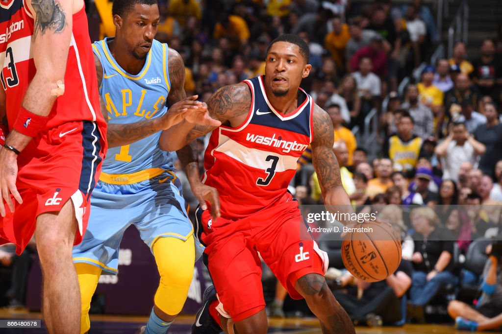 Bradley Beal #3 of the Washington Wizards handles the ball against the Los Angeles Lakers on October 25, 2017 at STAPLES Center in Los Angeles, California.