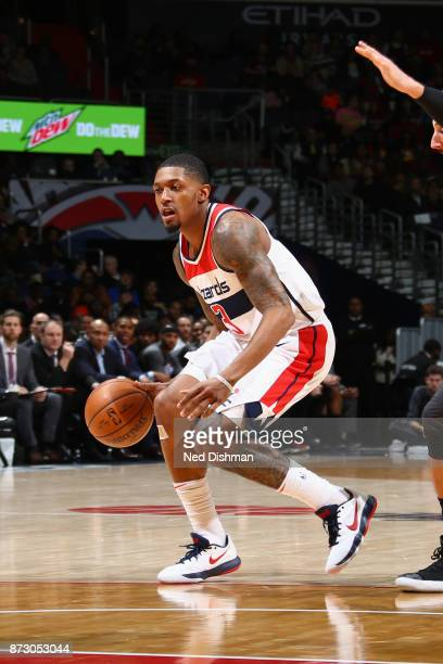 Bradley Beal of the Washington Wizards handles the ball against the Atlanta Hawks on November 11 2017 at Capital One Arena in Washington DC NOTE TO...