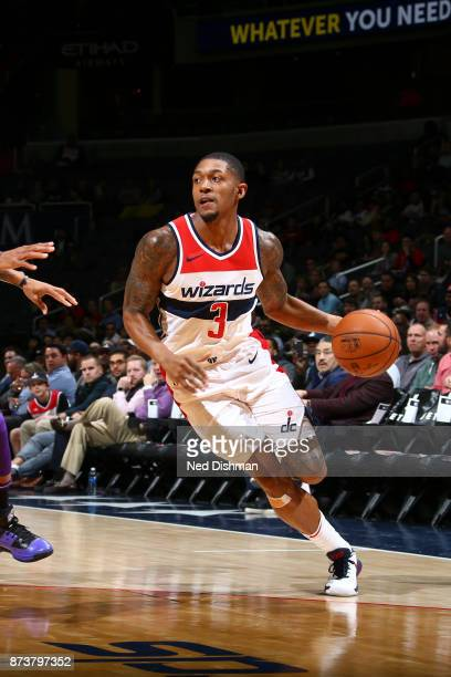 Bradley Beal of the Washington Wizards handles the ball against the Sacramento Kings on November 13 2017 at Capital One Arena in Washington DC NOTE...
