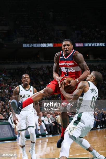 Bradley Beal of the Washington Wizards handles the ball against the Milwaukee Bucks on November 20 2017 at the BMO Harris Bradley Center in Milwaukee...