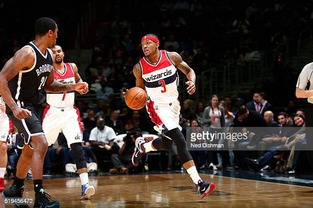 Bradley Beal of the Washington Wizards handles the ball during the game against the Brooklyn Nets on April 6 2016 at Verizon Center in Washington DC...
