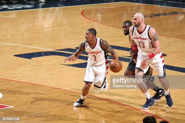 Bradley Beal of the Washington Wizards handles the ball during the game against the Atlanta Hawks during Game Two of the Eastern Conference...