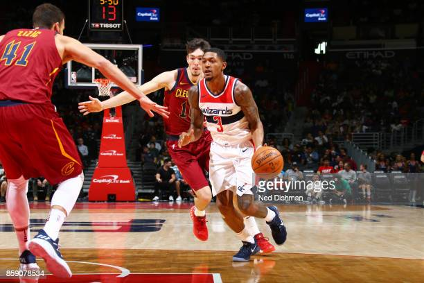 Bradley Beal of the Washington Wizards handles the ball during the preseason game against the Cleveland Cavaliers on October 8 2017 at Capital One...
