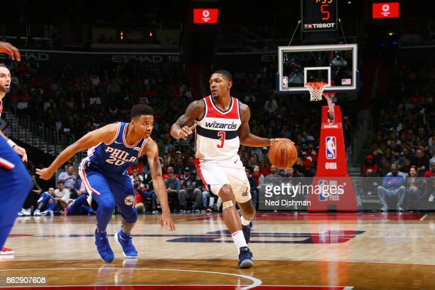 Bradley Beal of the Washington Wizards handles the ball during the 201718 regular season game against the Philadelphia 76ers on October 18 2017 at...