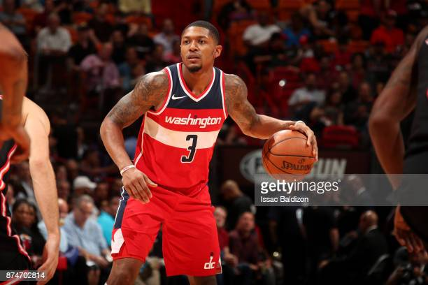 Bradley Beal of the Washington Wizards handles the ball during the game against the Miami Heat at the American Airlines Arena on November 15 2017 in...