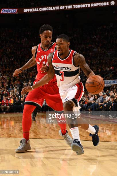 Bradley Beal of the Washington Wizards handles the ball during the game against the Toronto Raptors on November 19 2017 at the Air Canada Centre in...