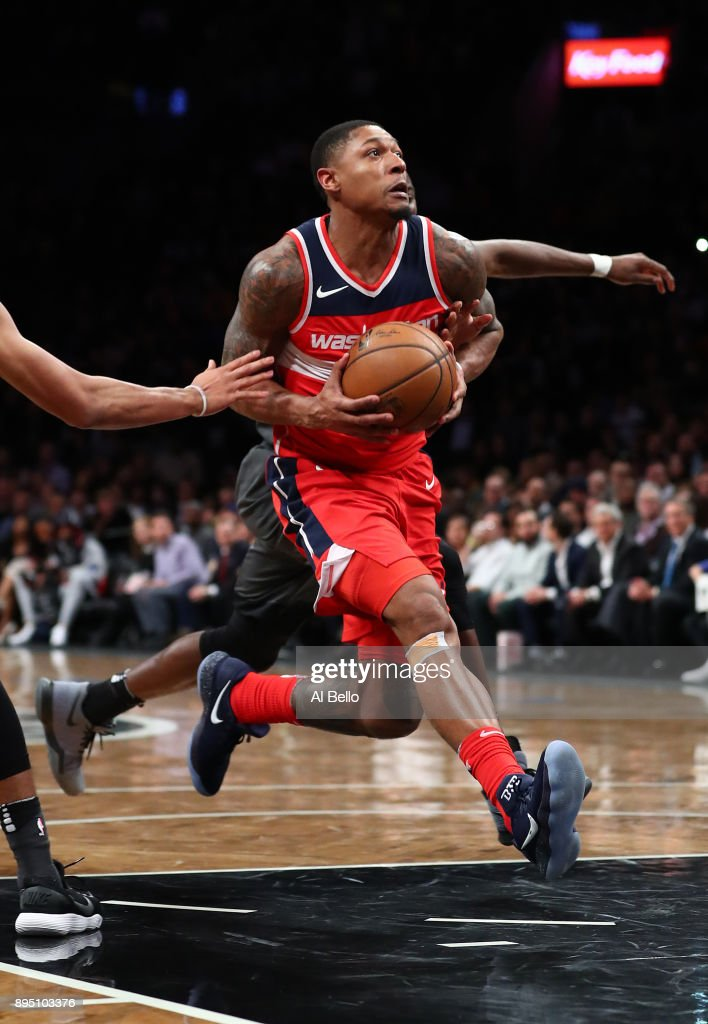 Bradley Beal #3 of the Washington Wizards in action against the Brooklyn Nets during their game at Barclays Center on December 12, 2017 in the Brooklyn Borough of New York City.