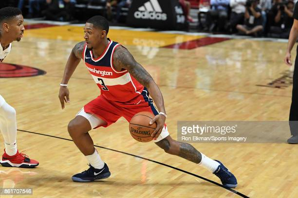 Bradley Beal of the Washington Wizards in action during a preseason game against the Miami Heat at American Airlines Arena on October 11 2017 in...