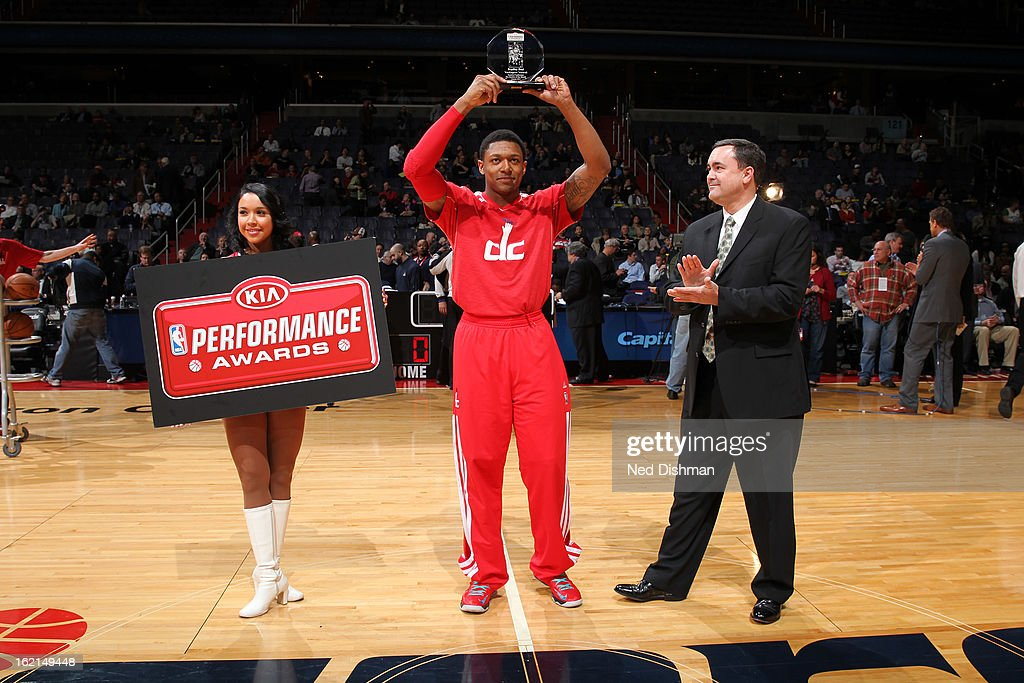 Bradley Beal #3 of the Washington Wizards is presented with the KIA Performance Awards Rookie of the Month Award before the game against the Toronto Raptors at the Verizon Center on February 19, 2013 in Washington, DC.