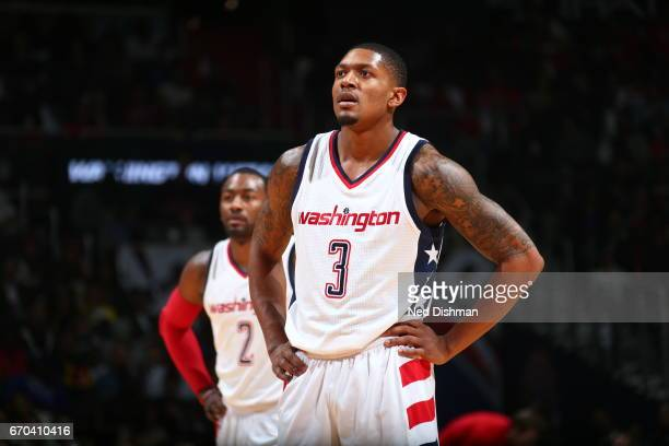 Bradley Beal of the Washington Wizards is seen against the Atlanta Hawks during Game Two of the Eastern Conference Quarterfinals of the 2017 NBA...