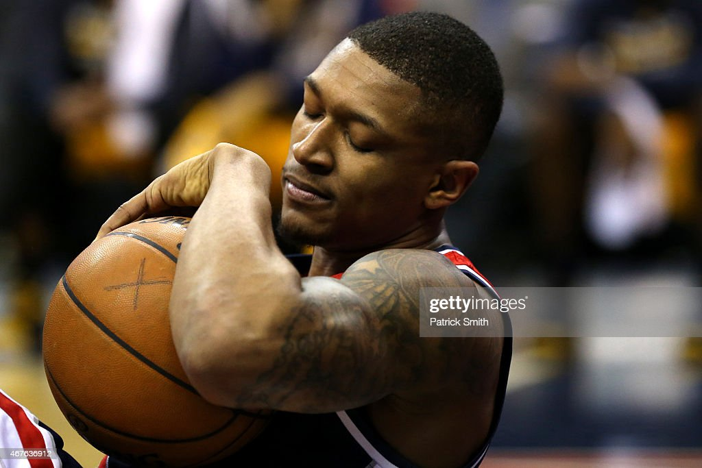 Bradley Beal #3 of the Washington Wizards lays on the court after an injury against the Indiana Pacers at Verizon Center on March 25, 2015 in Washington, DC. The Indiana Pacers won, 103-101.