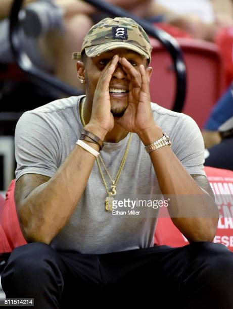 Bradley Beal of the Washington Wizards looks on during a 2017 Summer League game between the Portland Trail Blazers and the Boston Celtics at the...